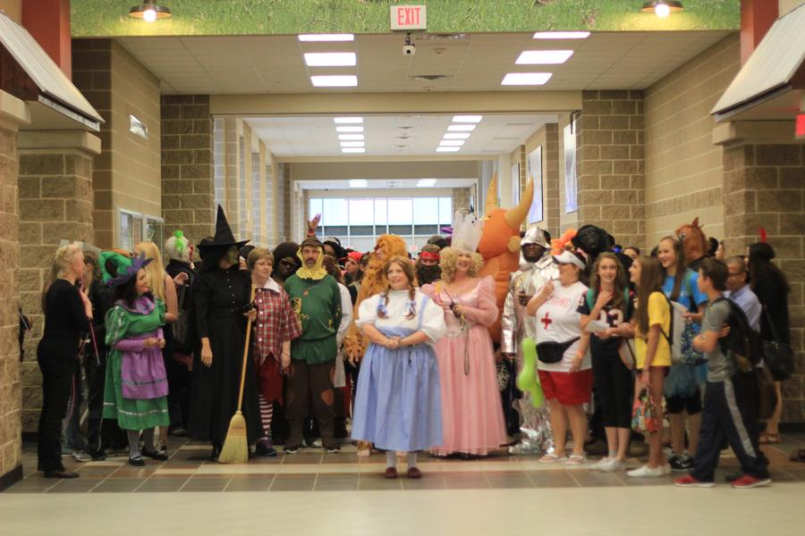 Staff and students paraded down Main Street to show off their Halloween costumes on October 31. Photo by Art Compean.