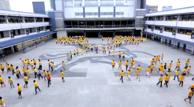 A lip dub featuring a floor dance with the entire school population.