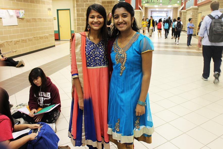 Anjali Patel and Jencie Daniel representing their Indian culture.