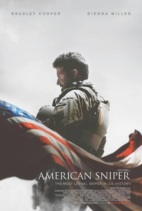 Movie Poster for American Sniper, featuring Bradley Cooper.