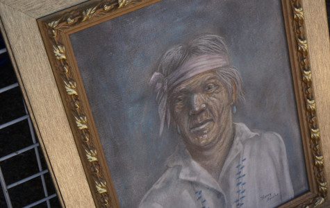 Old painting of a native American man. Artist is unknown.
