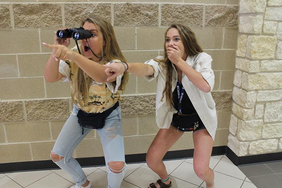 Megan Foster and Peyton Heussner gasp in amazement at all of the GRHS' attractions.