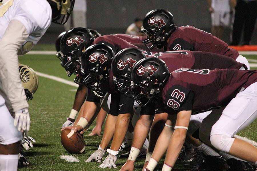 Offensive line getting ready for a touchdown