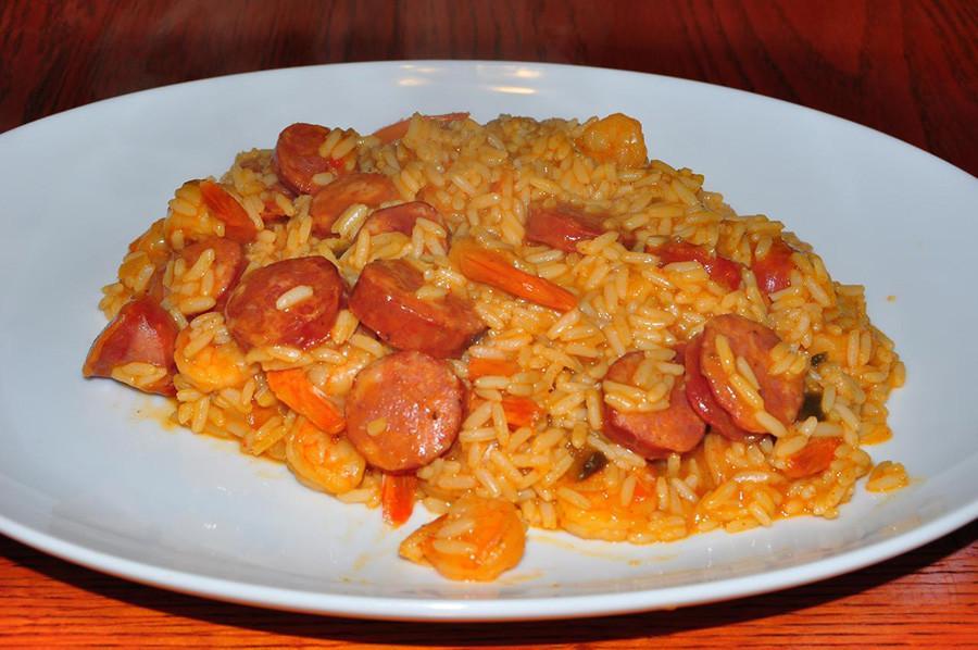 Homemade jambalaya with andouille and shrimp.
