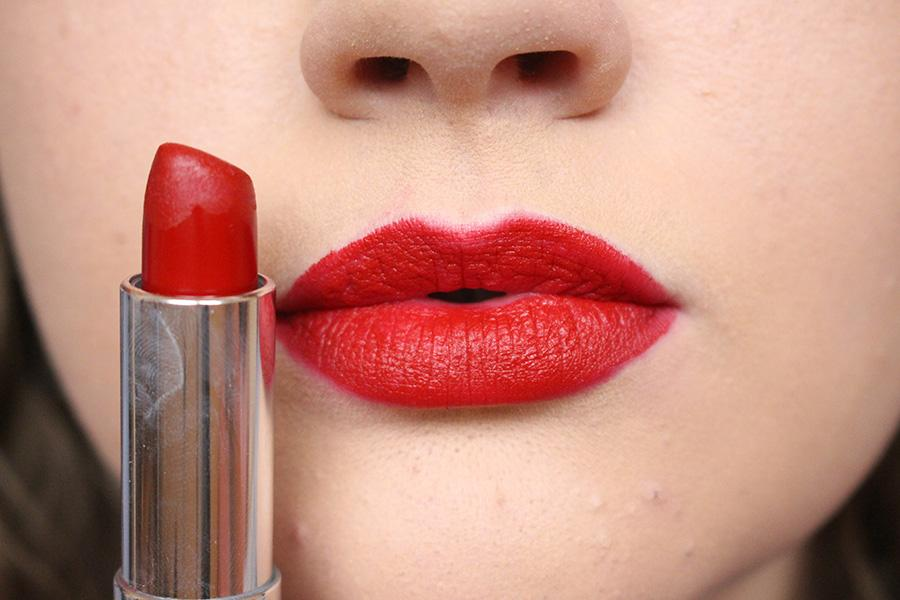 """Then take your favorite lipstick and apply all over lips. This is Maybelline's Matte Lipstick in the shade """"Ruby Rose"""""""