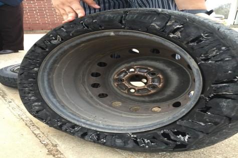 flat tire inside view