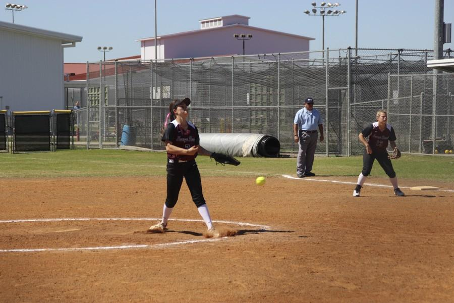 Lexi Tovar releases the pitch with the intense flick of her wrist.