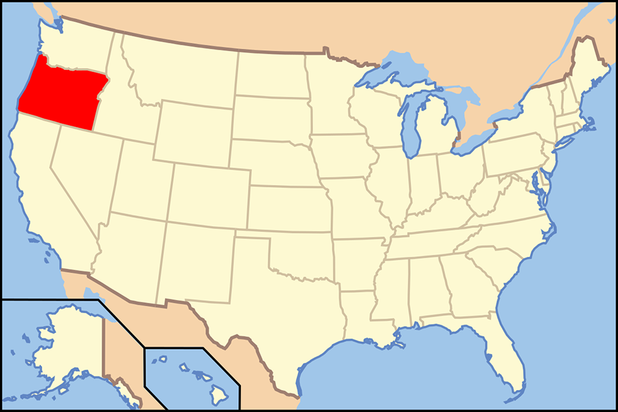 Map of United States with Oregon highlighted.