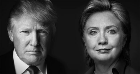Close-ups of the two primary candidates for the 2016 presidential election.
