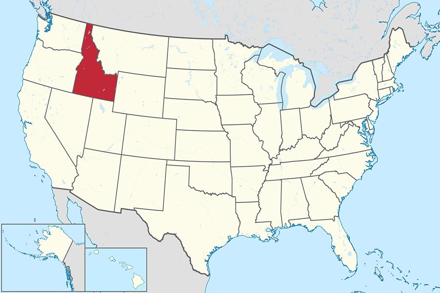 Idaho on the U.S. map