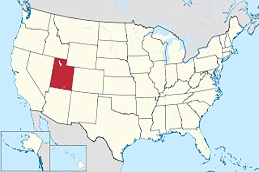 Utah on the U.S. map