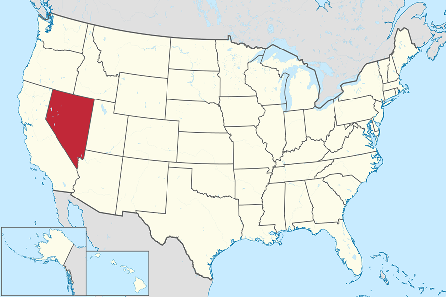 Nevada on the U.S. map