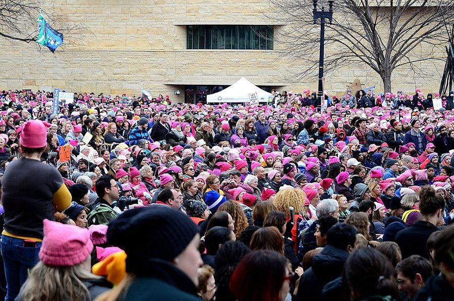 Protestors march in the Woman's March on Washington D.C. Jan. 21, 2017