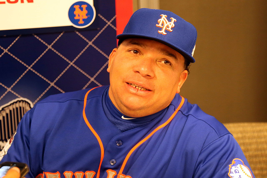 Bartolo Colon looks wistfully at a reporter
