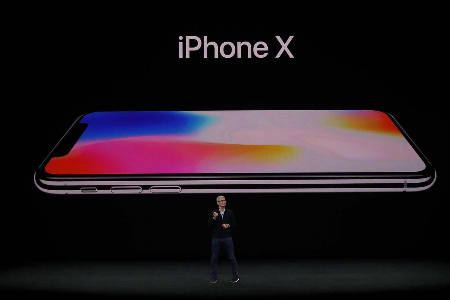 Tim Cook revealing and talking about the iPhone X.