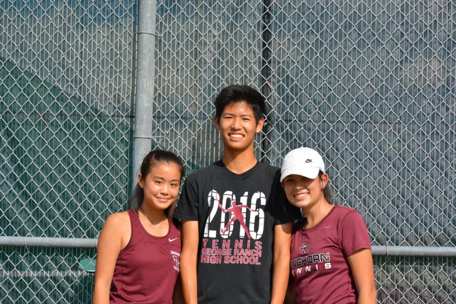 Cassie Chen, Jonathan Tan, and Grace Nguyen pose for a picture prior to a match (pictured left to right).