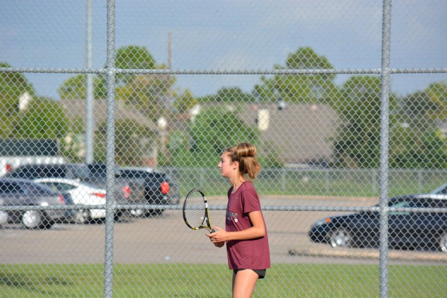 Jenna Lappiere awaits her opponent's serve.