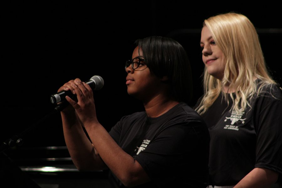 Seniors, Diamond Butler and Ashley Green, sing a duet to the song