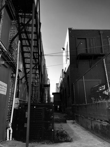 A neat alleyway extends between buildings