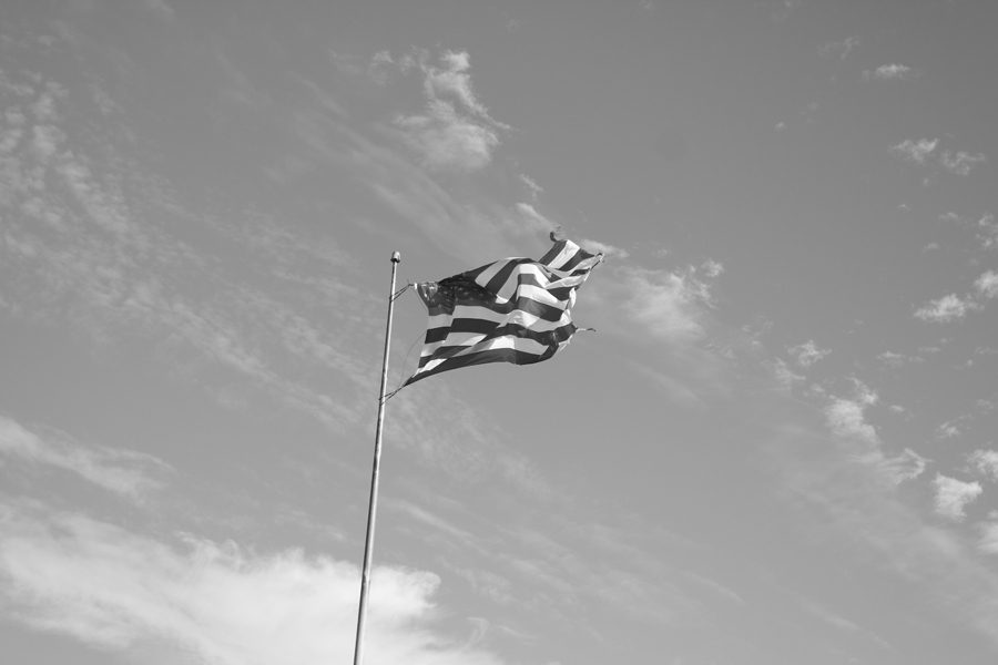 The American flag gloriously waves in the wind