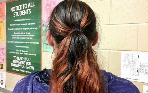 A student with dyed hair.