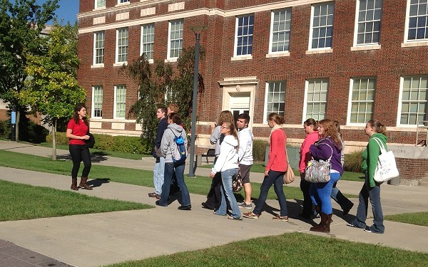 Perspective students touring a campus.