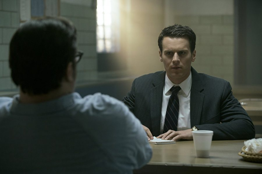 A still of Holden Ford (Jonathan Groff) and Ed Kempner (Cameron Britton) in Netflix's original show, Mindhunter.