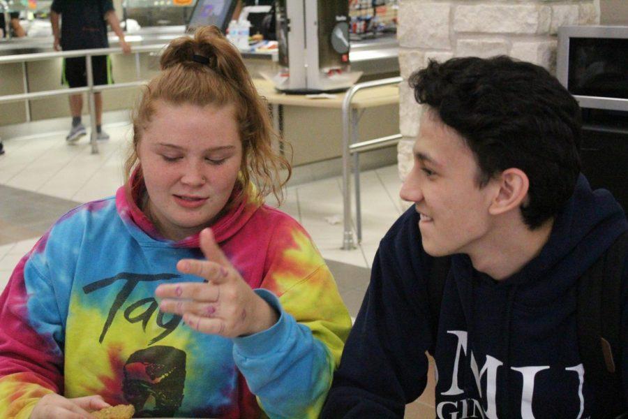 Nevada Dolnik (12) tells a story to Arturo Rodriguez (12)