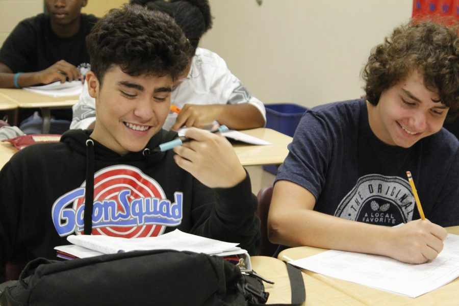 Elias Villalobos & Ryan Fratt  (10)  enjoying their time in Algebra 2.
