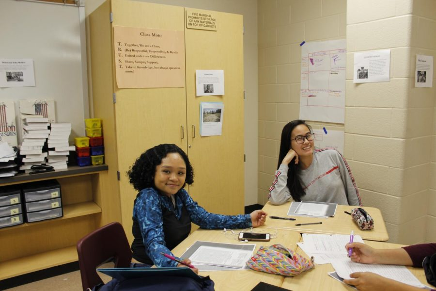Esther Le & Mariella  Ladiao (11) posing for a quick picture during class.