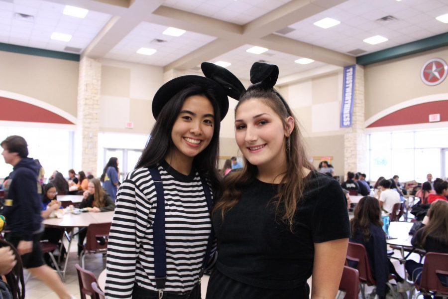 Jasmine Nguyen (10) and Chloe Sopchak (11) in a mime and bunny costume.