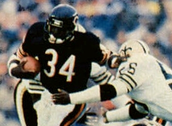Walter Payton rushing in a game vs. the Saints.