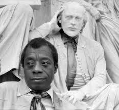 Portrait of James Baldwin with the statue of Shakespeare Albert Memorial by Allan Warren