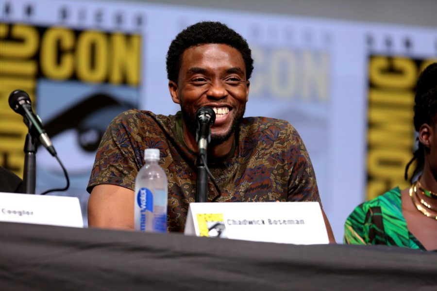 Chadwick Boseman speaking at the 2017 San Diego Comic Con International.