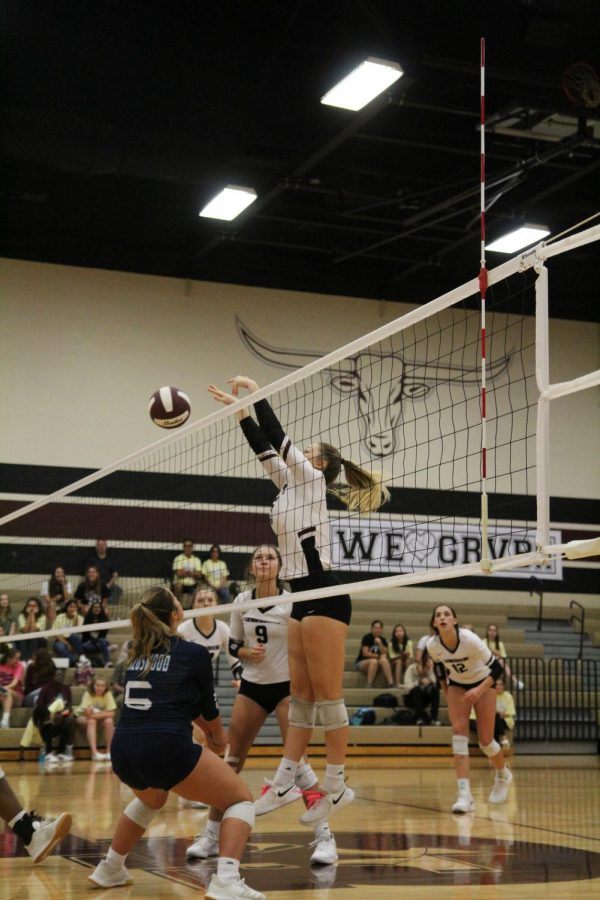 Mackenzie Rock (12) with springs in her feet it tapping the ball to the front row players.