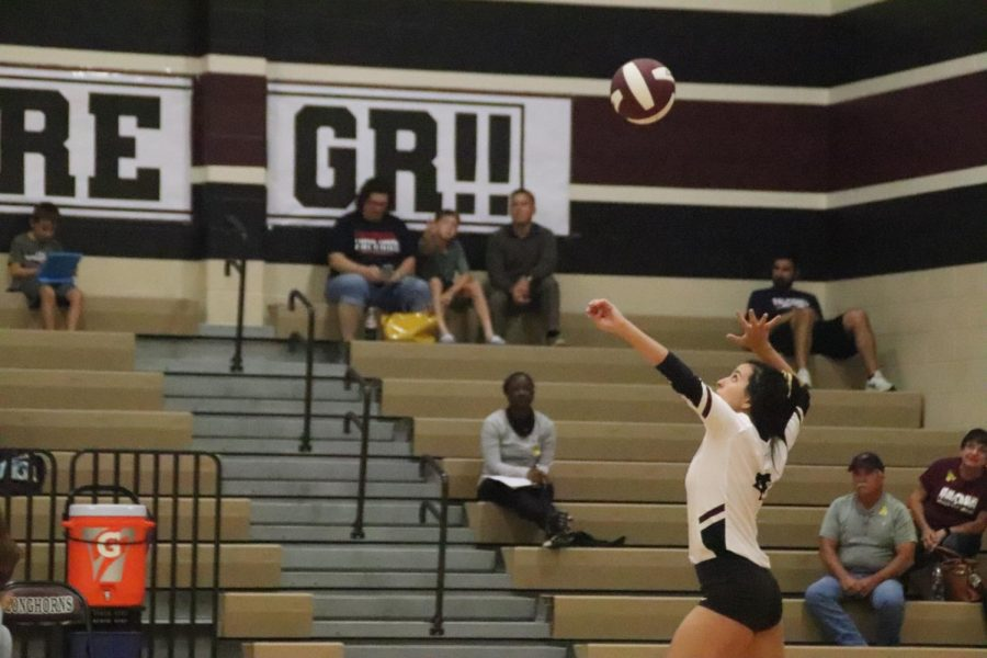 Elyssa Girles just before serving a great serve across the net.