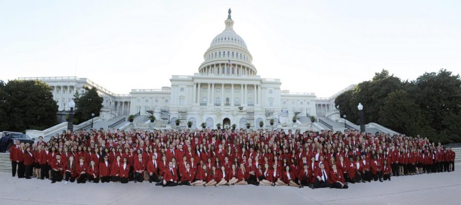 All of the 2019 SkillsUSA Officers gathered in front of the capital.