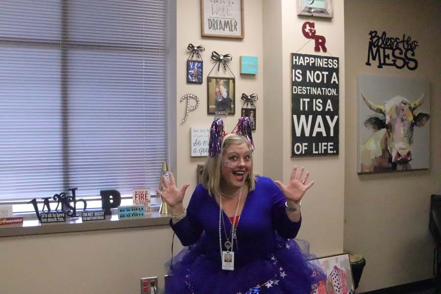 Mrs.+Patterson+is+George+Ranch%27s+newest+Principal+and+she+is+showing+off+one+of+her+many+tutus+and+school+spirit+on+one+of+the+first+spirit+days+this+school+year.