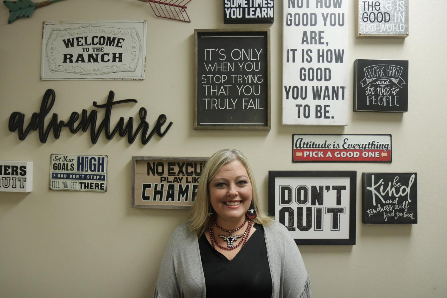 George Ranch's new principal Mrs. Patterson at her positivity wall.