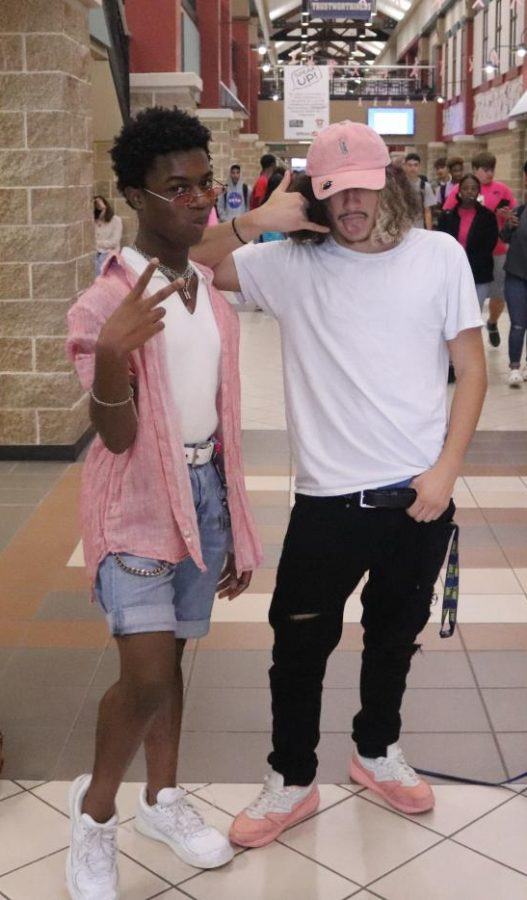 Matthias Johnson (Left) ,Francisco Arroyo (Right) are the two freshest dressed for pink out.