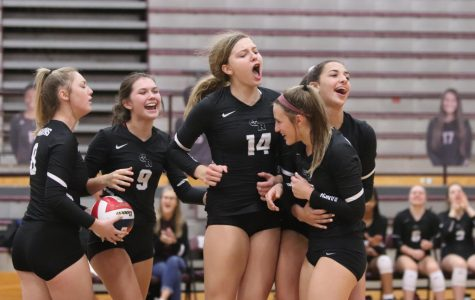 (Starting left to right) No. 8 Mackenzie Rock (12), No. 9 Paris Donavan (11), No. 14 Allie Sczech (10), and No. 12 Logan Lednicky (10) hyping up No. 15 Riley Steubing (9) for digging Pearland's hit perfectly to No. 1 Alex Tennon (11).