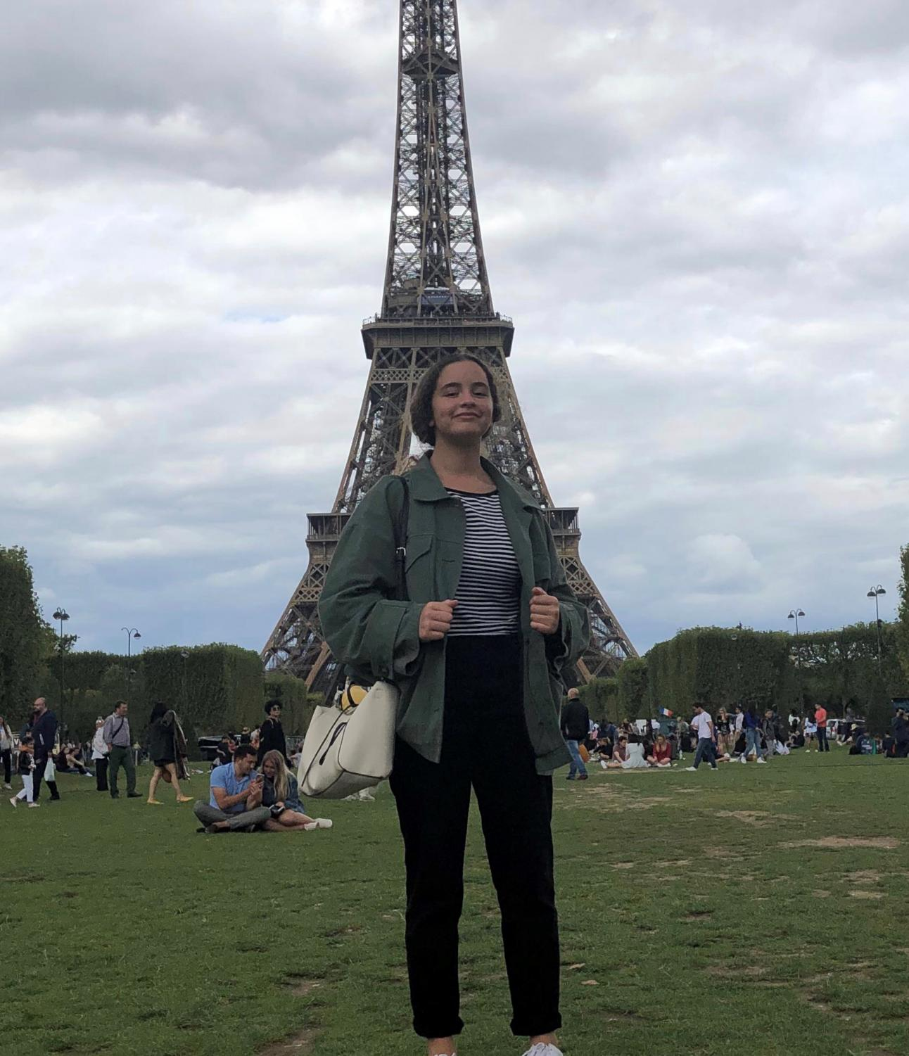 Hannah visits the Eiffel  Tower in her hometown Paris, France.