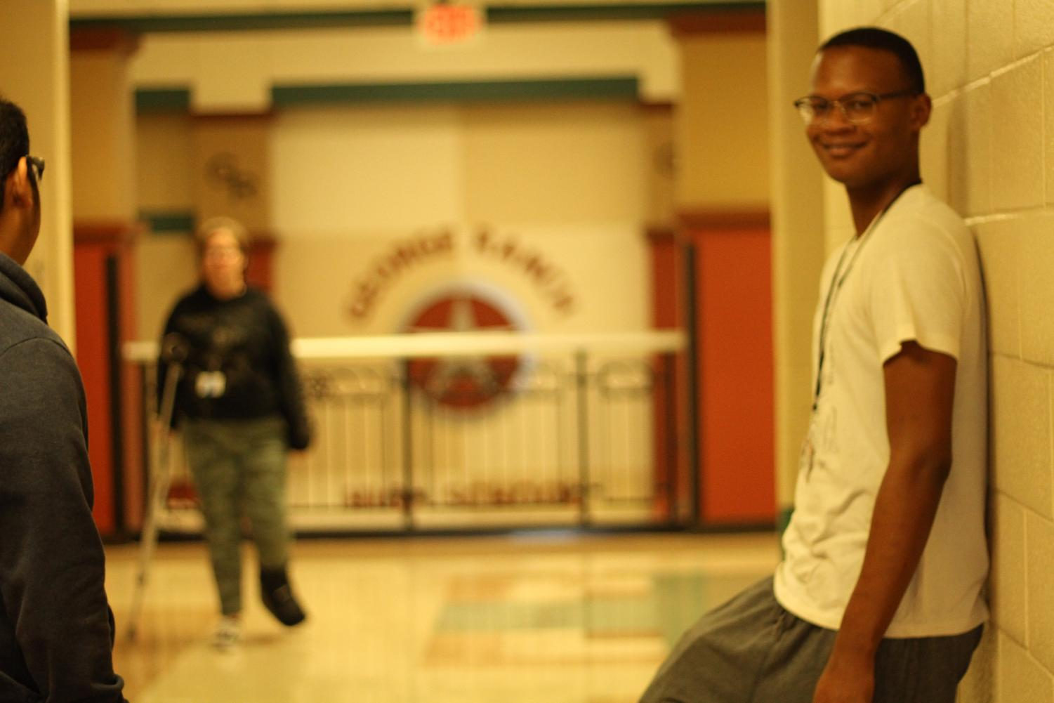 Isaiah Frazier outside his advisory, waiting for a friend