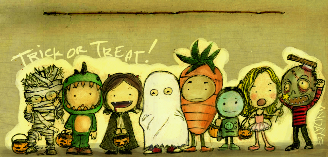 A drawn cartoon of little kids in Halloween costumes.