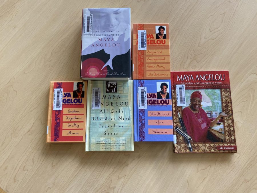 An array display of books and poems written by Maya Angelou.