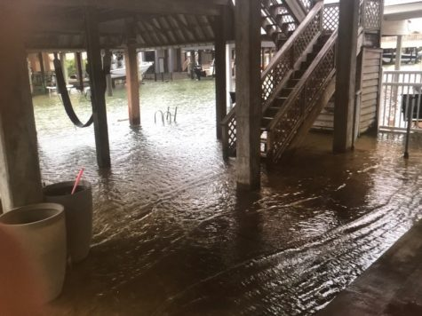 Tiki Island resident shares an image of flooding caused by the high tides. This image was saved via Facebook.