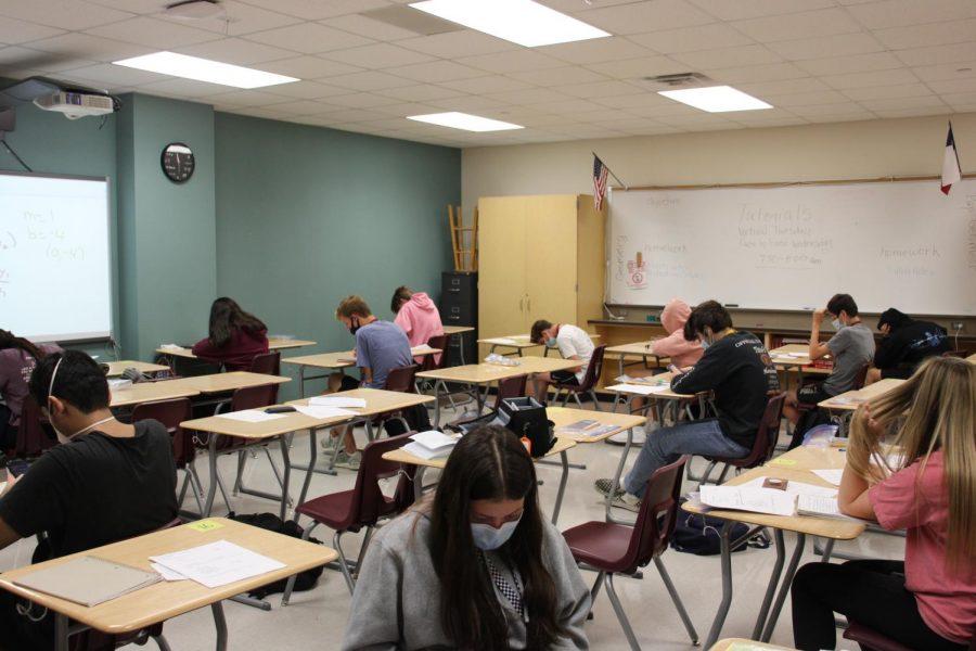 For social distance, classroom desk are set apart.