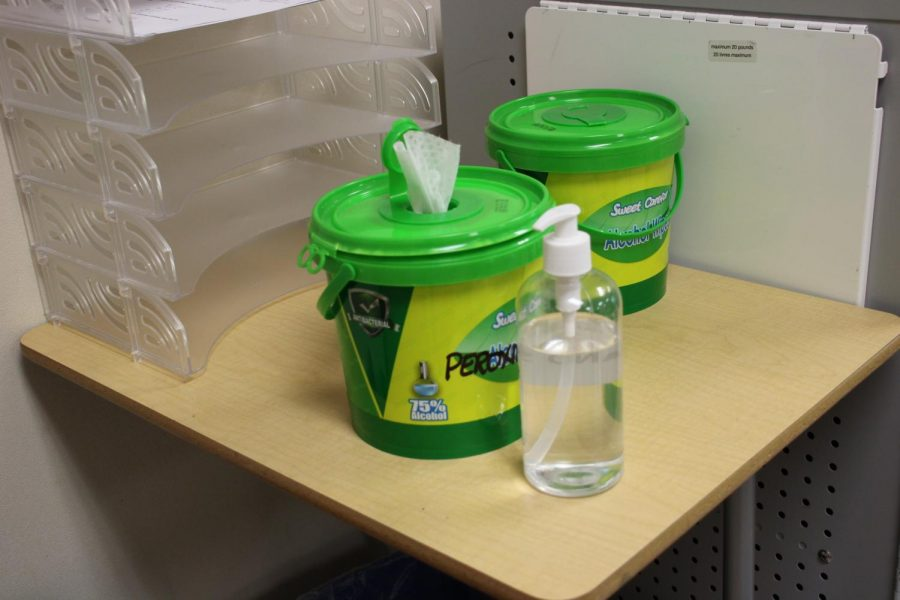 This year looks a little bit different, a sanitize station is placed at every classroom entrance.