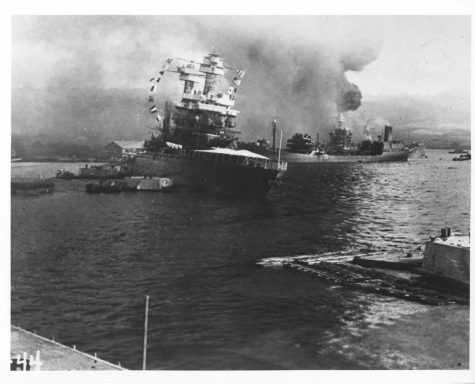 The USS California sinking after the bombing of Pearl Harbor.