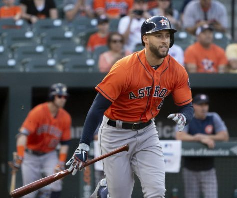George Springer, a former Houston Astros baseball outfielder is moving to the Toronto Blue Jays, but Michael Brantley will stay behind.